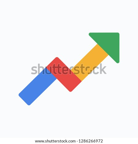 Google trends icon. Google arrow icon. Arow tending upwards. Colored arrow icon. State of the art. Vector illustration. EPS 10