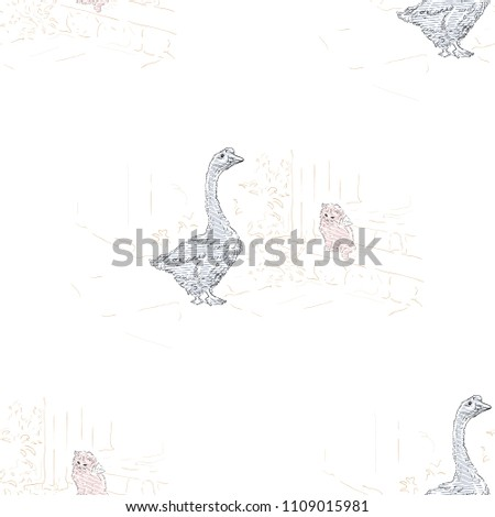 Goose and Kitten seamless pattern. Hand drawn illustration.