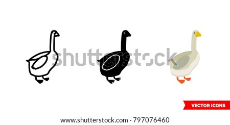 goose icon of 3 types  color