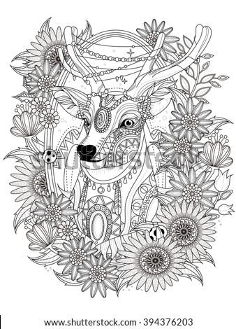 gorgeous deer with floral
