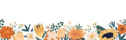 Gorgeous floral backdrop with border of blooming autumn flowers and leaves. Design of horizontal banner with elegant fall plants isolated on white background. Colorful flat vector illustration