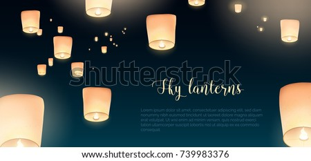 Gorgeous horizontal banner with glowing Kongming flying lanterns floating in evening sky and place for text. Background with national Chinese holiday airborne decorations. Colored vector illustration.