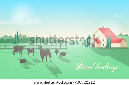 Gorgeous rural landscape with domestic animals grazing on meadow against wooden fence, farm building, green hills and clear sky on background. Beautiful pastoral scenery. Colorful vector illustration.