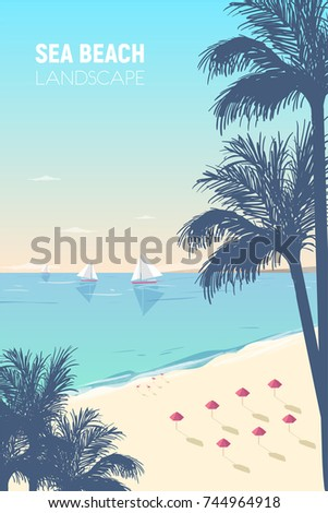 gorgeous seascape with palm