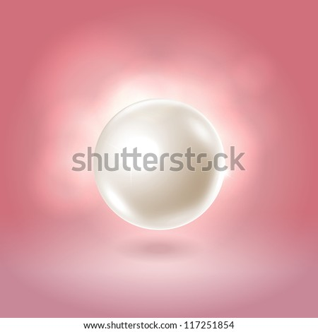 Gorgeous white spherical pearl bead hanging over warm pink background - stock vector