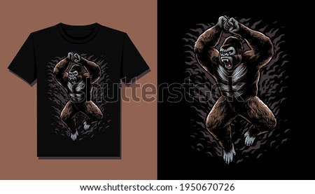 gorilla attack t shirt design