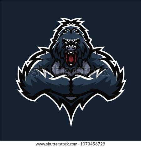 gorilla esport gaming mascot logo template