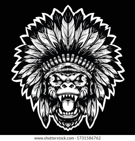 gorilla head apache with traditional apache hat vector mascot design