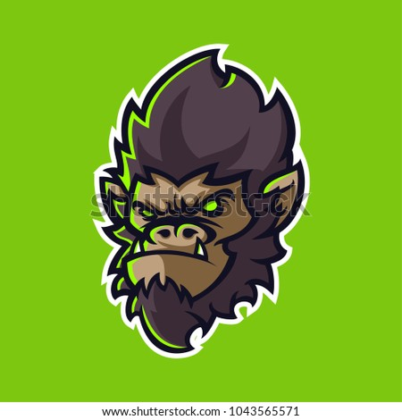 gorilla head modern mascot logo