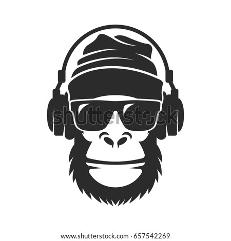 Gorilla in a knitted hat, sunglasses and headphones. Cool Monkey