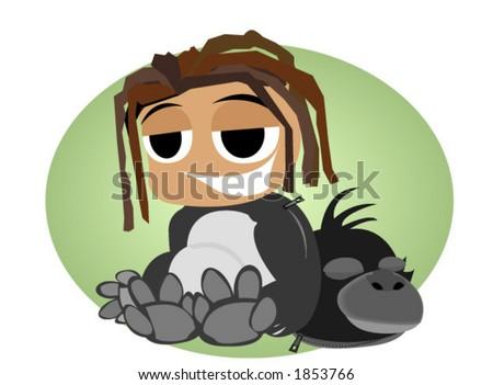 gorilla kid costume   vector