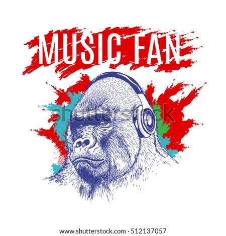 gorilla listening to music on