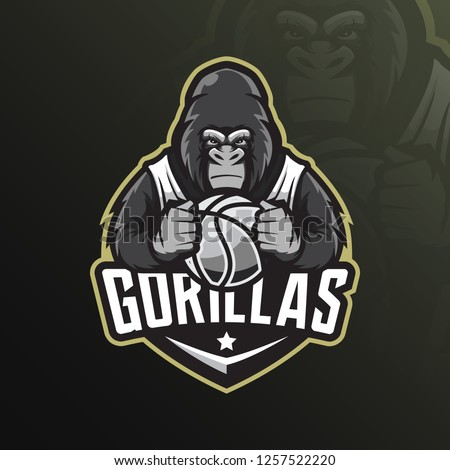 gorilla mascot logo design vector with modern illustration concept style for badge, emblem and tshirt printing. angry gorilla illustration by holding a basketball.
