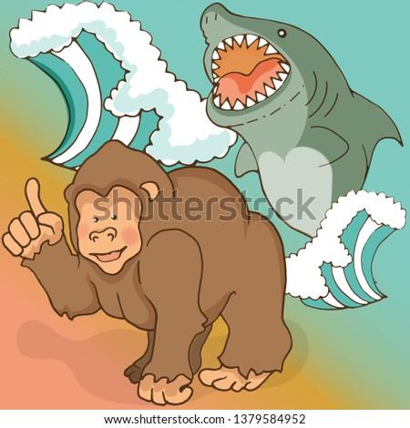 gorilla shows the evil shark