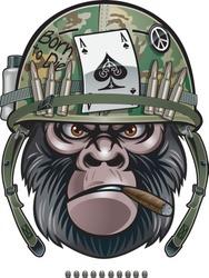 gorilla soldier wearing military steel helmet