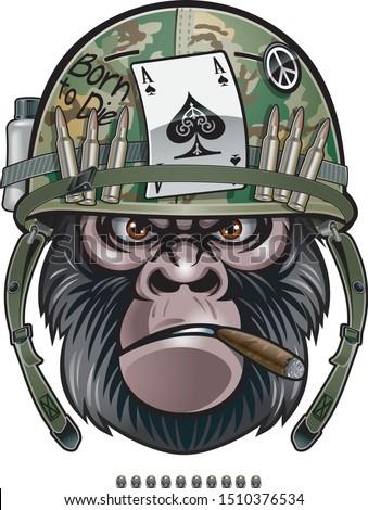 gorilla soldier wearing