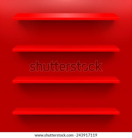 gorizontal  shelves on the red