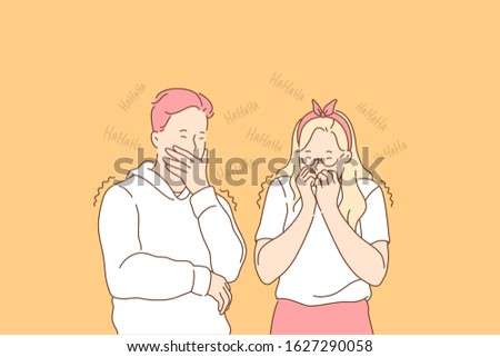 Gossip, hypocrisy, giggle set concept. Hypocitical man and woman heard gossip and giggle on it. Humorous guy and girl are laughiung at joke. Young boy and girl are bullying others. Simple flat vector ストックフォト ©