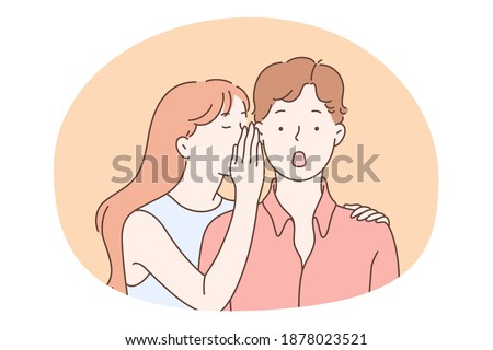 Gossip, secret, privacy concept. Teen girl cartoon character whispering secret to her surprised boy friend, covering his ear with hand vector illustration  Сток-фото ©