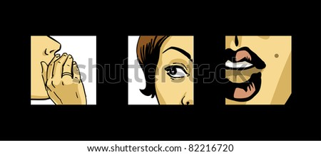 gossiping beautiful women comics style vector drawing illustration
