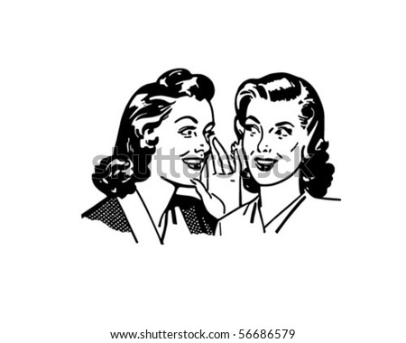 gossiping women   retro clip art