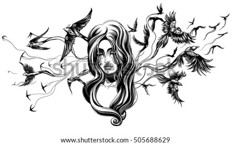 goth girl with birds behind