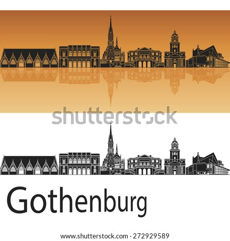 gothenburg skyline in orange