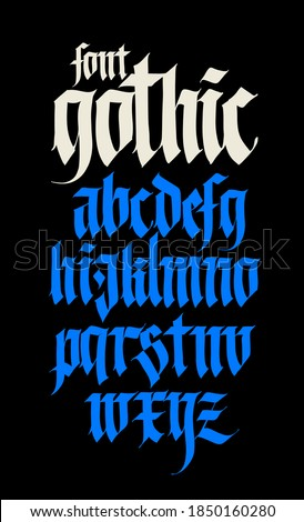 Gothic alphabet. Vector. Modern gothic. Black calligraphic letters on a yellow background. All letters are separate. Medieval latin letters. Ancient Germanic style. Drawn with marker. Zdjęcia stock ©