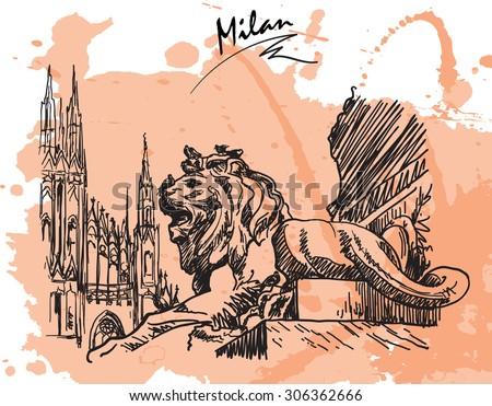 Gothic and Baroque architecture meeting together at Piazza del Duomo in Milan. Sketch style drawing imitating ink pen drawing with a grunge background on a separate layer. EPS10 vector illustration.