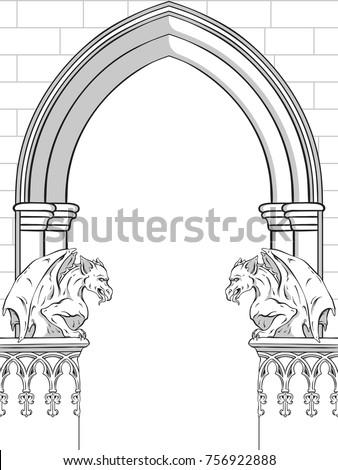 gothic arch with gargoyles hand