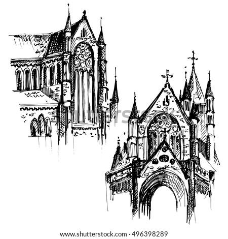 gothic architecture hand drawn