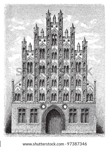 Gothic architecture / Vintage illustration from Meyers Konversations-Lexikon 1897