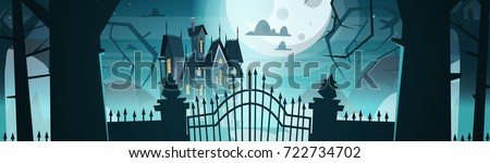 gothic castle behind gates in
