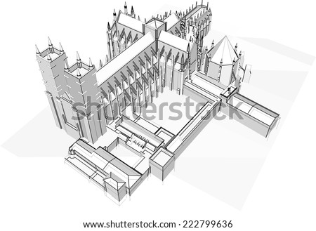 gothic cathedral building sketch