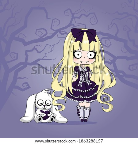 gothic chibi with pet bunny
