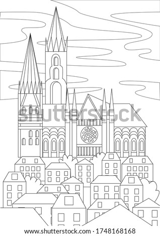gothic church or temple on the