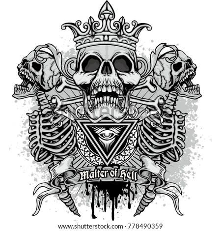 gothic coat of arms with skull