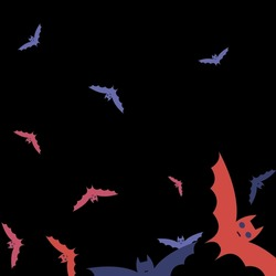 Gothic Colorful Creepy Night Art Flying Bats Fabrics. Scary Spooky Retro Motion Halloween Modern Design. Purple Black Print Sky Chaos Bats Vector Illustration. Pink Eyes Attack Red Wallpaper.