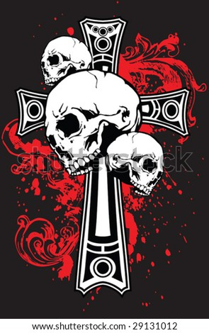 Gothic Cross and Skulls