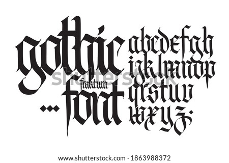 Gothic, English alphabet. Vector set. Font for tattoo, personal and commercial purposes. Elements isolated on white background. Calligraphy and lettering. Medieval Latin letters.