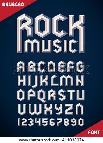 gothic font  metallic beveled