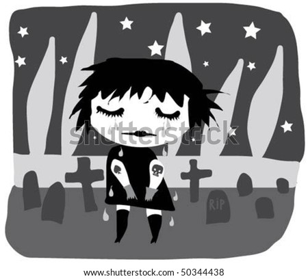 Gothic girl crying in the cemetery