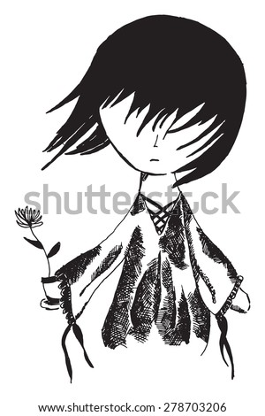 gothic girl with flower