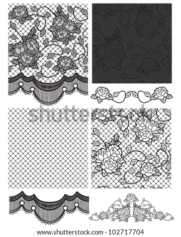 Gothic Lace Vector Seamless Patterns.  Right on trend for high street fashion. Use for fabric projects or paper craft.