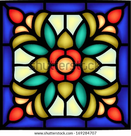 Gothic ornament, traditional church decor, seamless pattern,vector illustration in stained glass window style