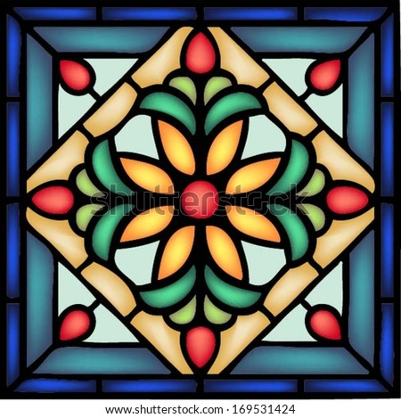Gothic ornament with decorative berry and flower, traditional church decor, seamless pattern,vector illustration in stained glass window style