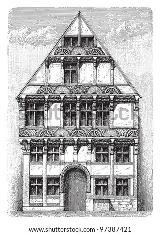 Gothic - Renaissance architecture / Vintage illustration from Meyers Konversations-Lexikon 1897
