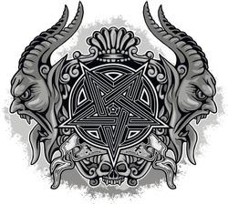 Gothic sign with demons, pentagram and skull, grunge vintage design t shirts