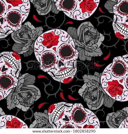 Gothic skulls, roses and thorns. Devilish vector pattern.