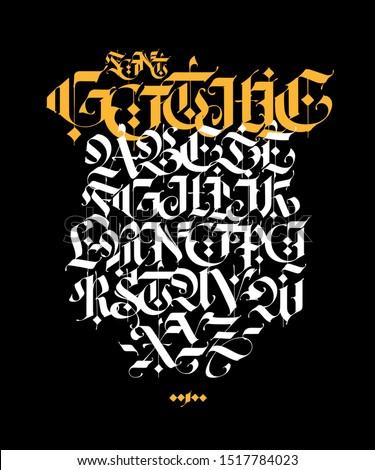 gothic style alphabet vector